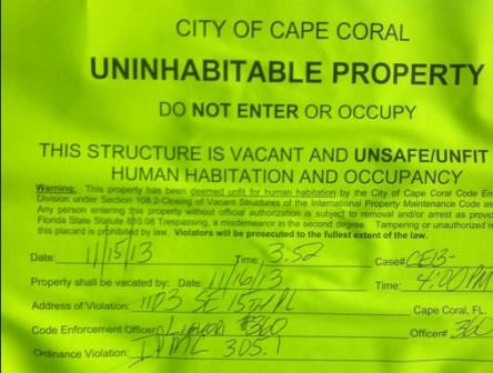 Uninhabitable Property Notice