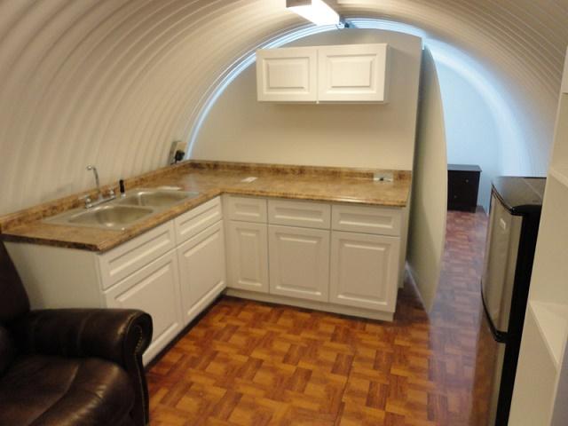 Survival shelter kitchen area